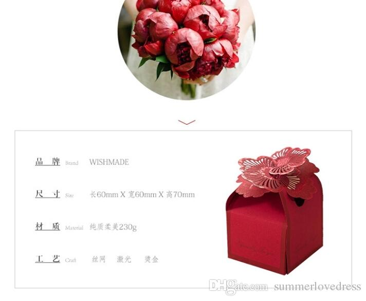 New Red Hollow Floral Wedding Candy Scatole Party Gift Box Forniture di nozze Cioccolatini Titolari