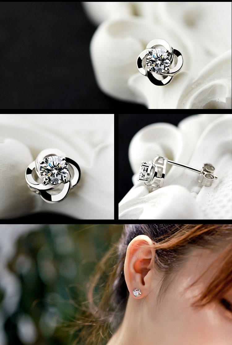 Moda Mujer Stud Pendientes Swarovski Zirconia Elementos de Joyería de Alta Calidad de Cristal Austriaco Stud Pendientes de Plata Cuatro Trébol de la Hoja de la joyería