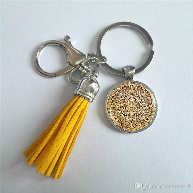2017 Fashion Mayan Calendar Keyring Aztec Calendar Keychain Tassel Bohemian Keychains Silver Round Glass Photo Key Chain Gifts