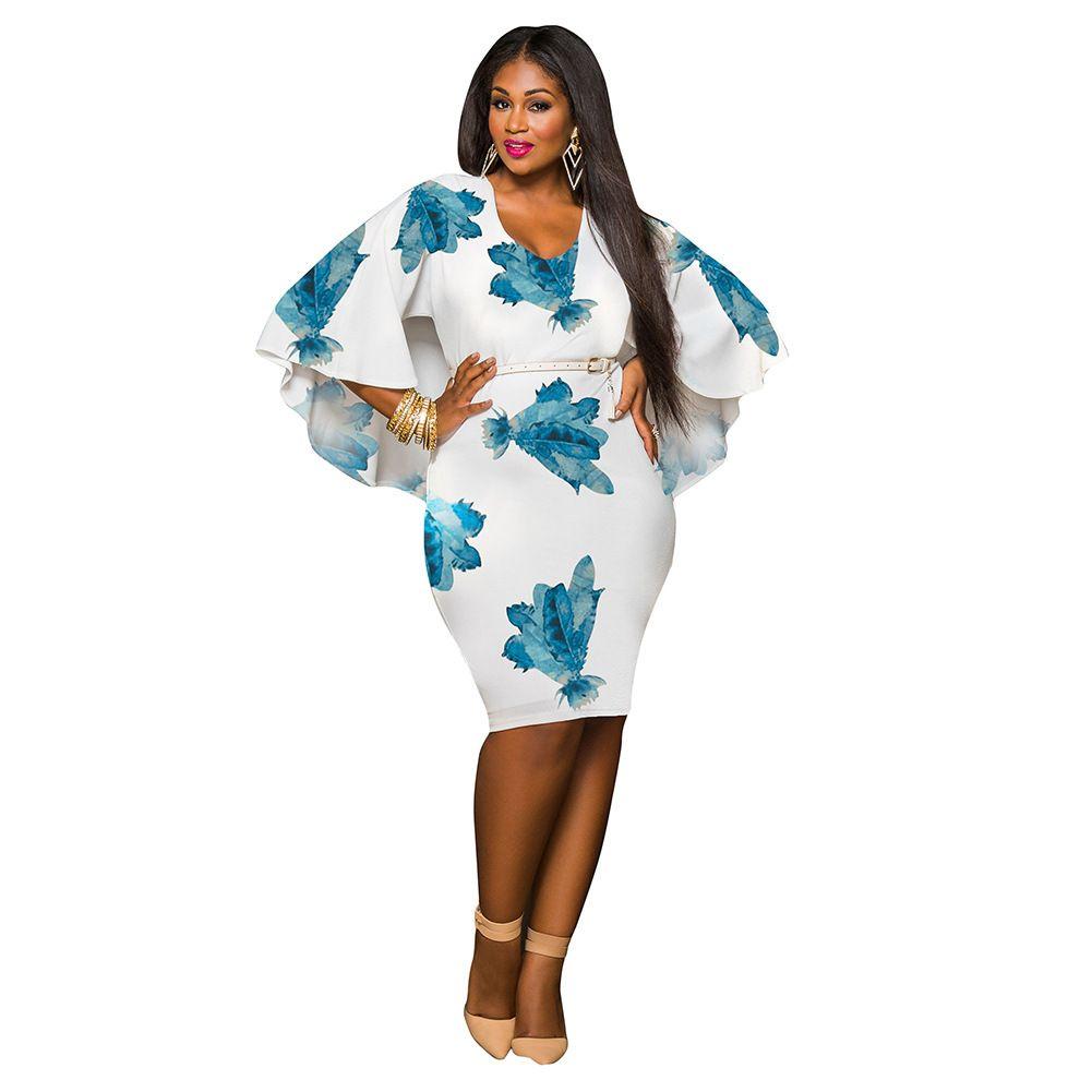 Cloak Print Dress Women 2017 O-Neck Flare Sleeve Chiffon Shawl Autumn Sweet Dress Sexy Women Plus Size Evening Dress L-3XL