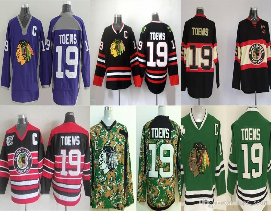 3d236d437 Hot Sale Mens Chicago Blackhawks 19 Jonathan Toews Purple Black Beige Red  Camo Geen 100% Embroidery Cheap Best Quality Ice Hockey Jerseys 19 Jonathan  Toews ...