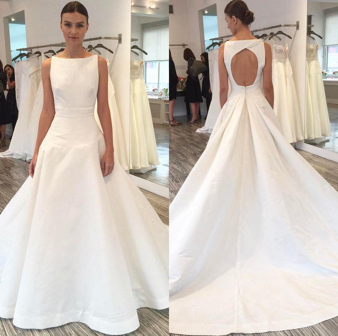 2017 Fall Brand New Designer Collection Chic Bateau Neckline White