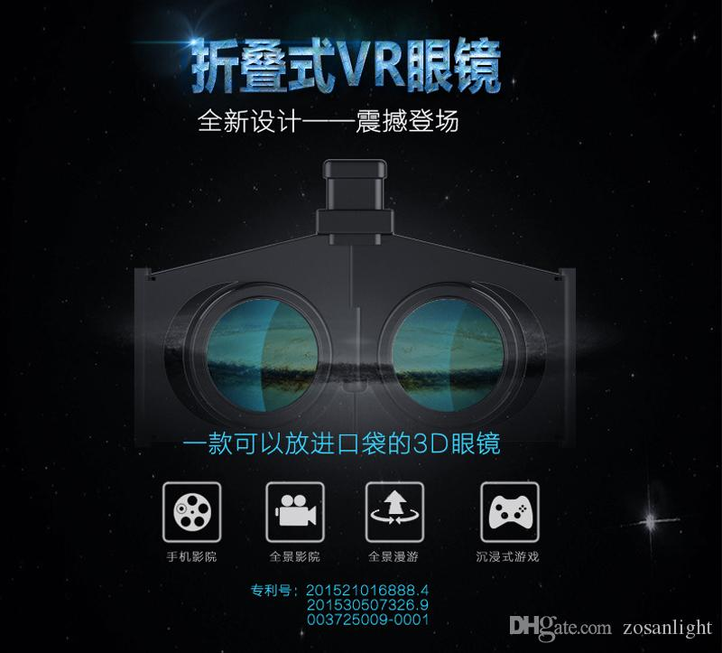 Portable Folding 3D VR Glasses Virtual Reality 3D Glasses Foldable Ultralight Thin Shutter Virtual Reality Glasses for Smartphone for iPhone