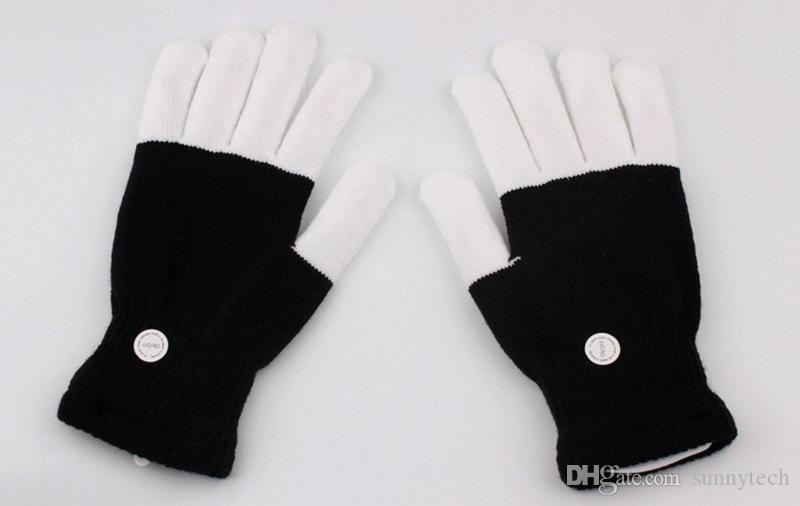 KTV Club Party Dance Halloween Flashing LED Flash Gloves Finger Light Up Glow gloves Fancy Dress Light Show Christmas festive