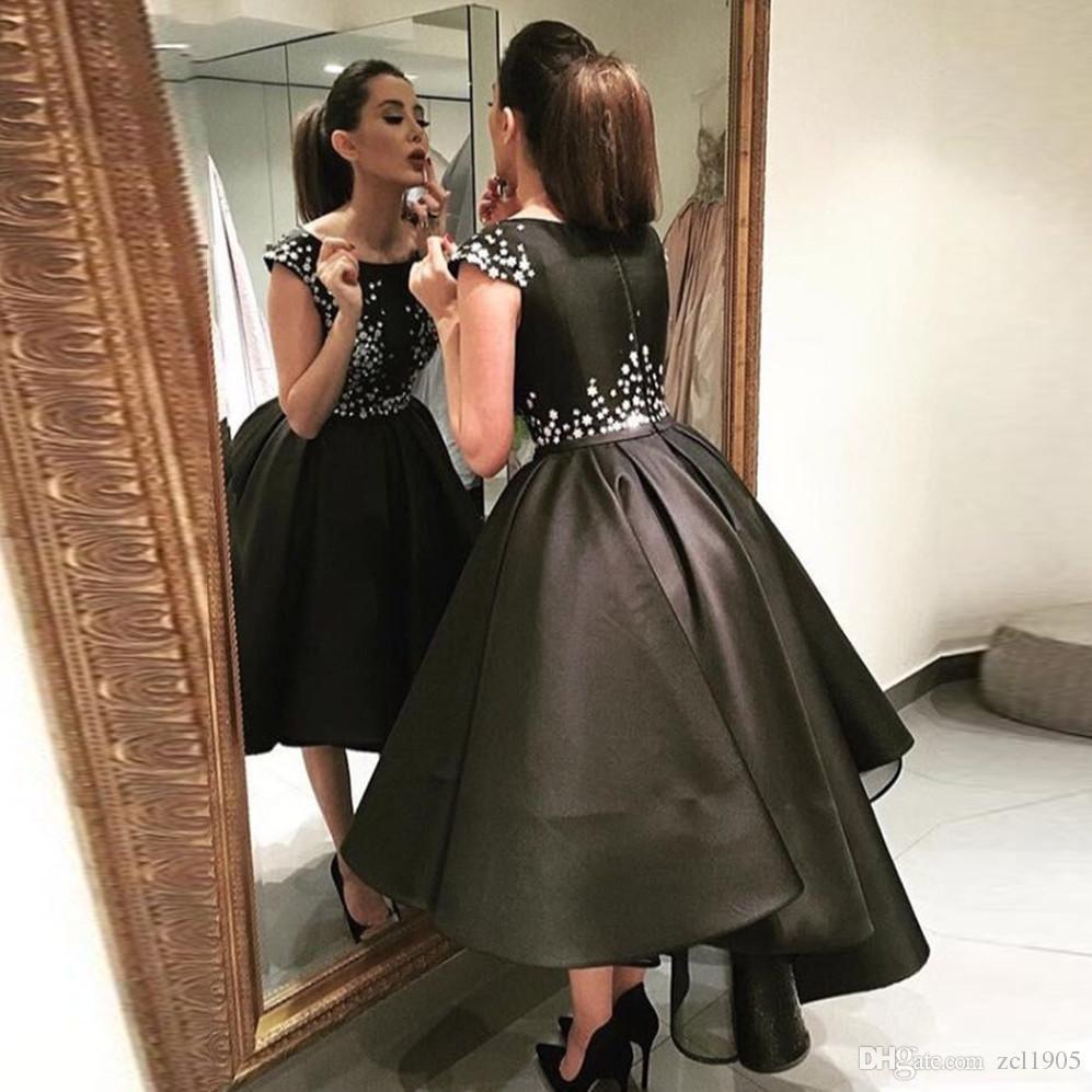 Saudi Arabia High Low Evening Dresses 2017 Roben De Soiree Black ...