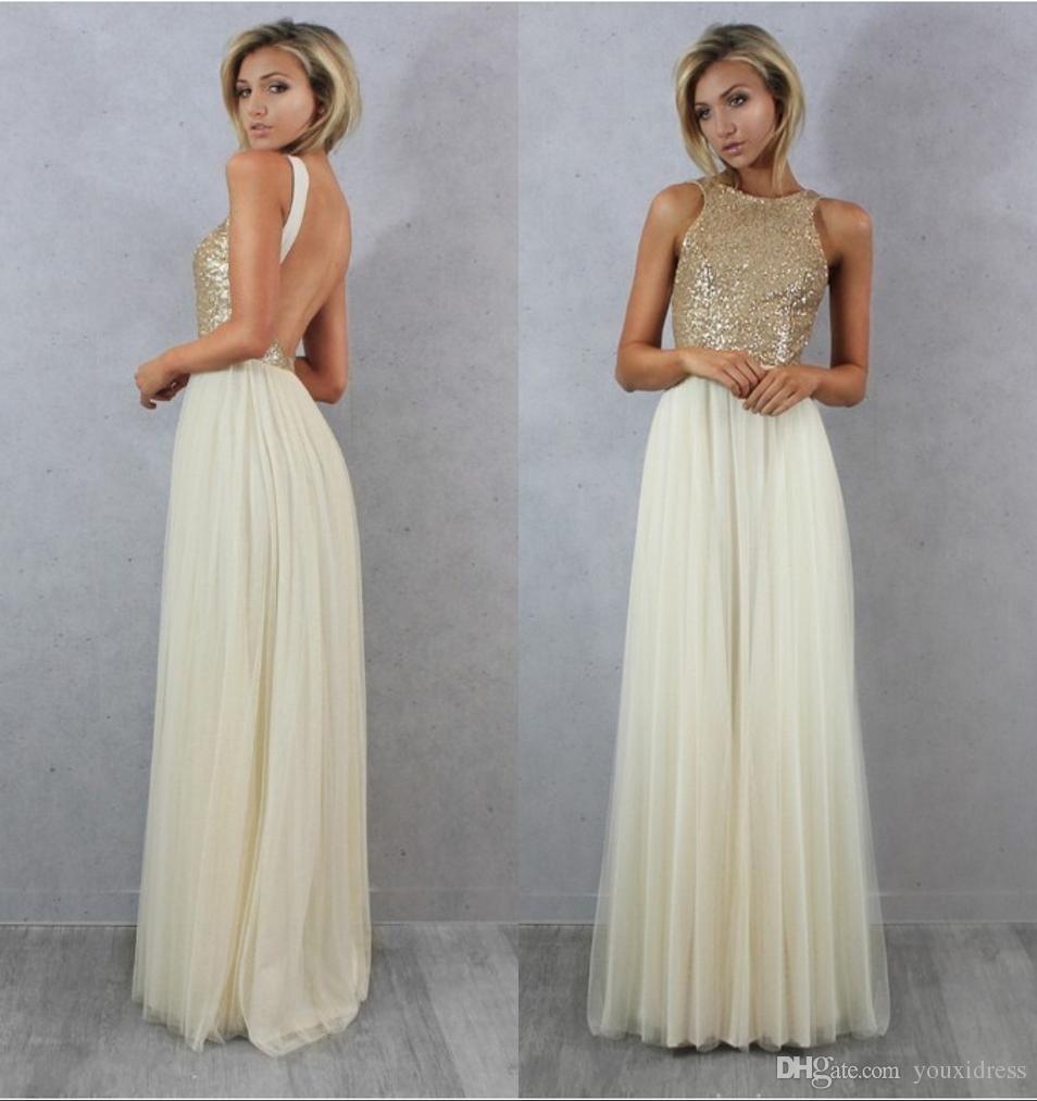 Großhandel Light Gold Sequin Top Modest Brautjungfer Kleider Eine ...