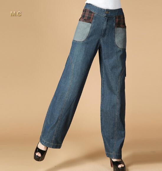 Jeans pour les femmes denim pantalons décontractés, plus la taille bloomers pantalon taille haute sarouel printemps automne natioanl tendance pantalon lâche lyq0602
