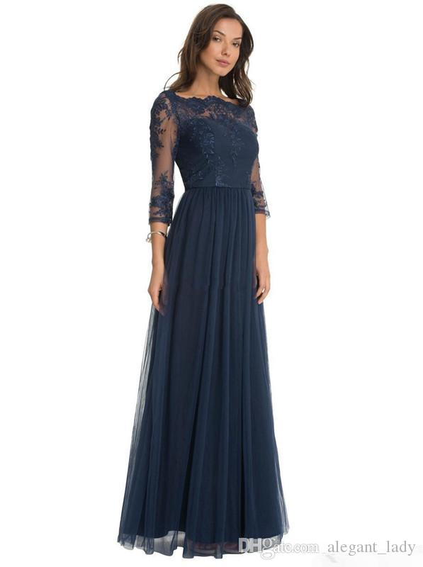 Hot Robe De Soiree Tulle Formal Bridesmaid Dresses Lace Scoop Neck Sheer navy blue Three Quarter Sleeves Mother of the Bride Dresses
