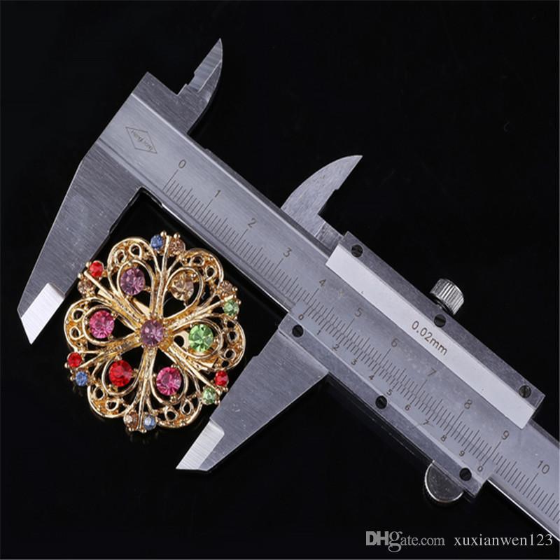 Haute qualité mode strass broche pour les femmes en alliage rond coloré broches broches en cristal broche pour les femmes Whloesale