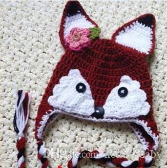 b1bfc9dd78e 2019 Christmas Crochet Fox Hat Baby Boy Girl Flower Knitted Hat Winter  Infant Toddler Cartoon Animal Cap Newborn Kids Children Beanie 100% Cotton  From ...