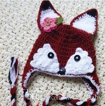 Weihnachten Häkelarbeit Fox Hut Baby Boy Mädchen Blume Strickmütze Winter Infant Kleinkind Cartoon Animal Cap Neugeborenen Kinder Kinder Beanie 100% Baumwolle