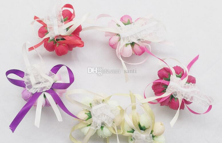 Popüler Yapay Bilek Çiçek Nedime Sisters el çiçekler Yapay Gelin Çiçekler Düğün Dekorasyon Çiçek