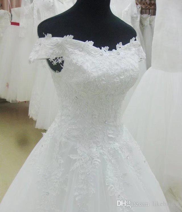 Spring New Design Bridal Dresses Cap Sleeve Sexy Slash Neck Lace Wedding Dress White Fashion Vestido de Novia Corset Back