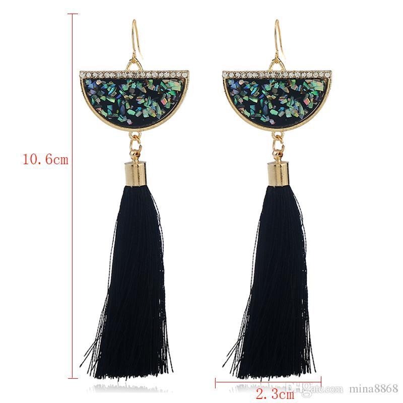 Vintage Gold Farbe halbrunde lange Quaste Ohrringe für Frauen Boho ethnischen Thread Quaste baumeln Ohrringe Partei Schmuck