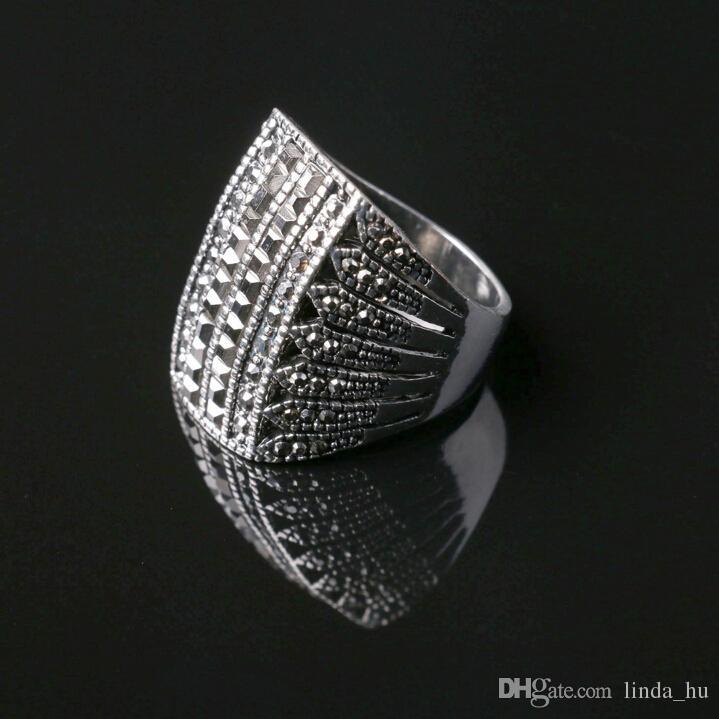 2016 modelos de estrellas atmosféricas europeas y americanas anillo con incrustaciones de diamante negro brillante anillo de plata exquisita talla