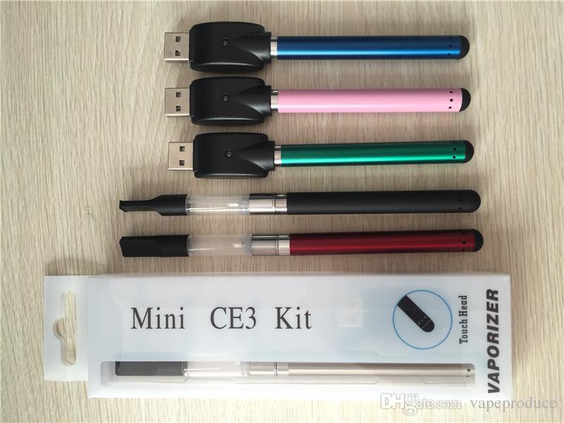Blister Pack Vaporizer vape pen Tank Mini Ce3 Atomizer Starter Kits With 510 Battery 280mah USB Charger E Cigs CE3 Vape E-cigarette Kit