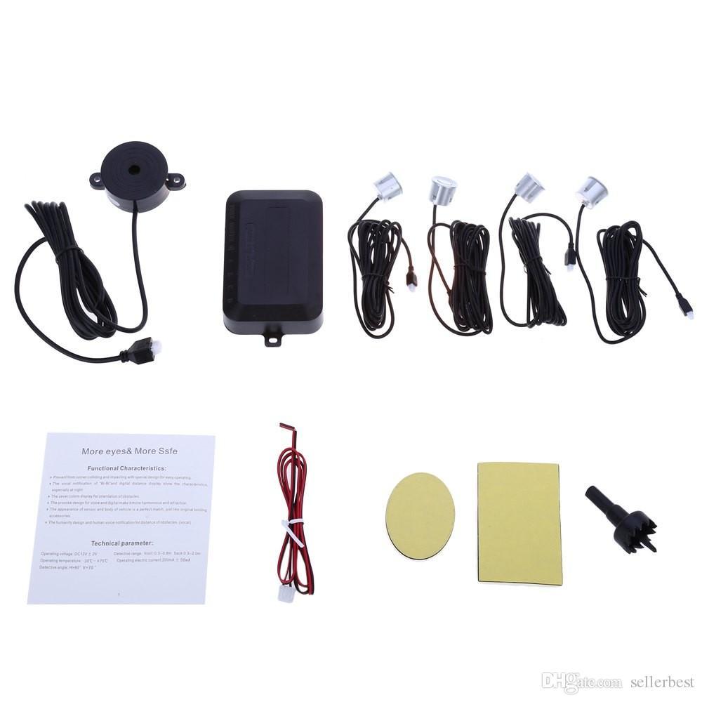 4 주차 센서 자동차 자동 후방 후방 보조 백업 주차 레이더 부저 경보 키트 모니터 시스템 영어 음성 알림