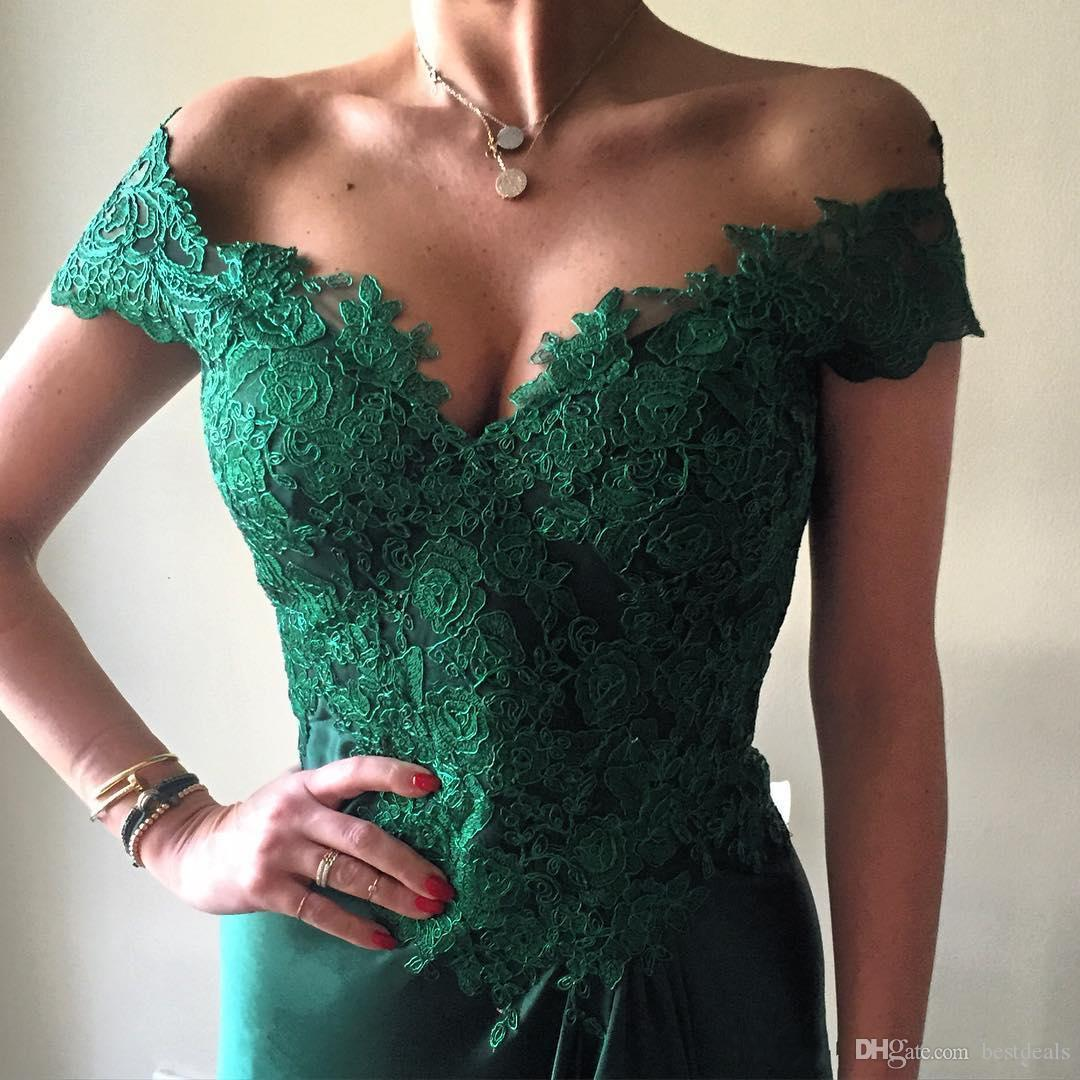 2017 elegante vestido de festa verde escuro a line vestidos de baile off the shpoulder apliques de cetim elástico frente divisão formal vestidos de noite