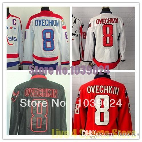 promo code 89651 6b870 Alex Ovechkin Jersey #8 Home Road Third Red White Black Ice C patch A patch  Stitched Jerseys In Stock Sale 100% Polyester