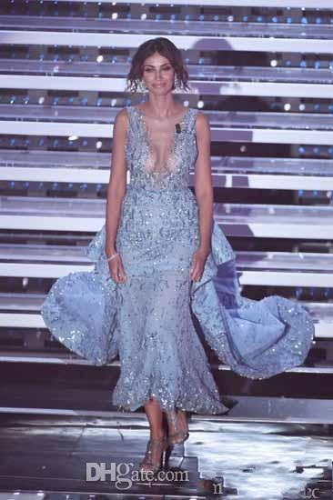 Luxury Zuhair Murad Evening Dresses Celebity Red CArpet Light Blue Prom GOwns Illusion Neckline Beaded Crystal Party Gowns