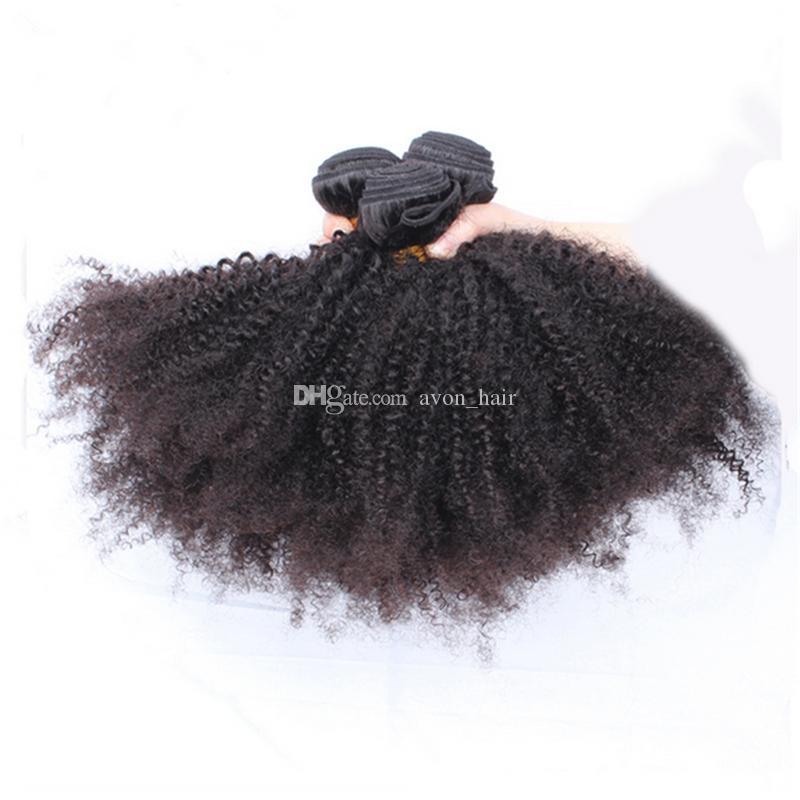 Afro Crépus Bouclés Extension De Cheveux Avec Partie Libre Fermeture Mongolie Vierge Cheveux Humains Crépus Bouclés 3Bundles Avec Dentelle Fermeture 4x4