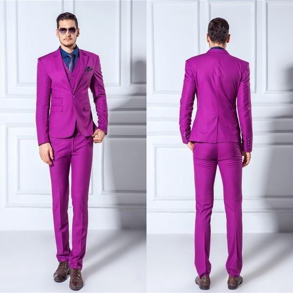 Jackets+Pants+Vest Men Suits Slim Blazers Tuxedo Groom Prom Purple ...