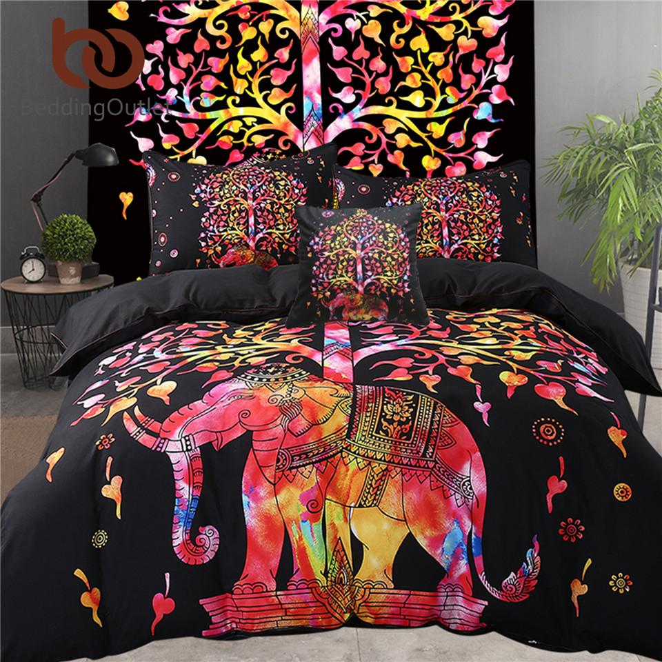 Bed In A Bag Colored Elephant Bedding Set Tree Pattern