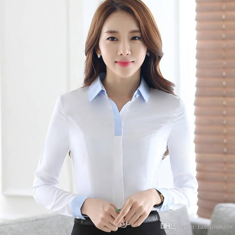 autumn ol womenu0027s clothes work wear shirts fashion formal office female long sleeve slim blouses white light blue plus size tops from