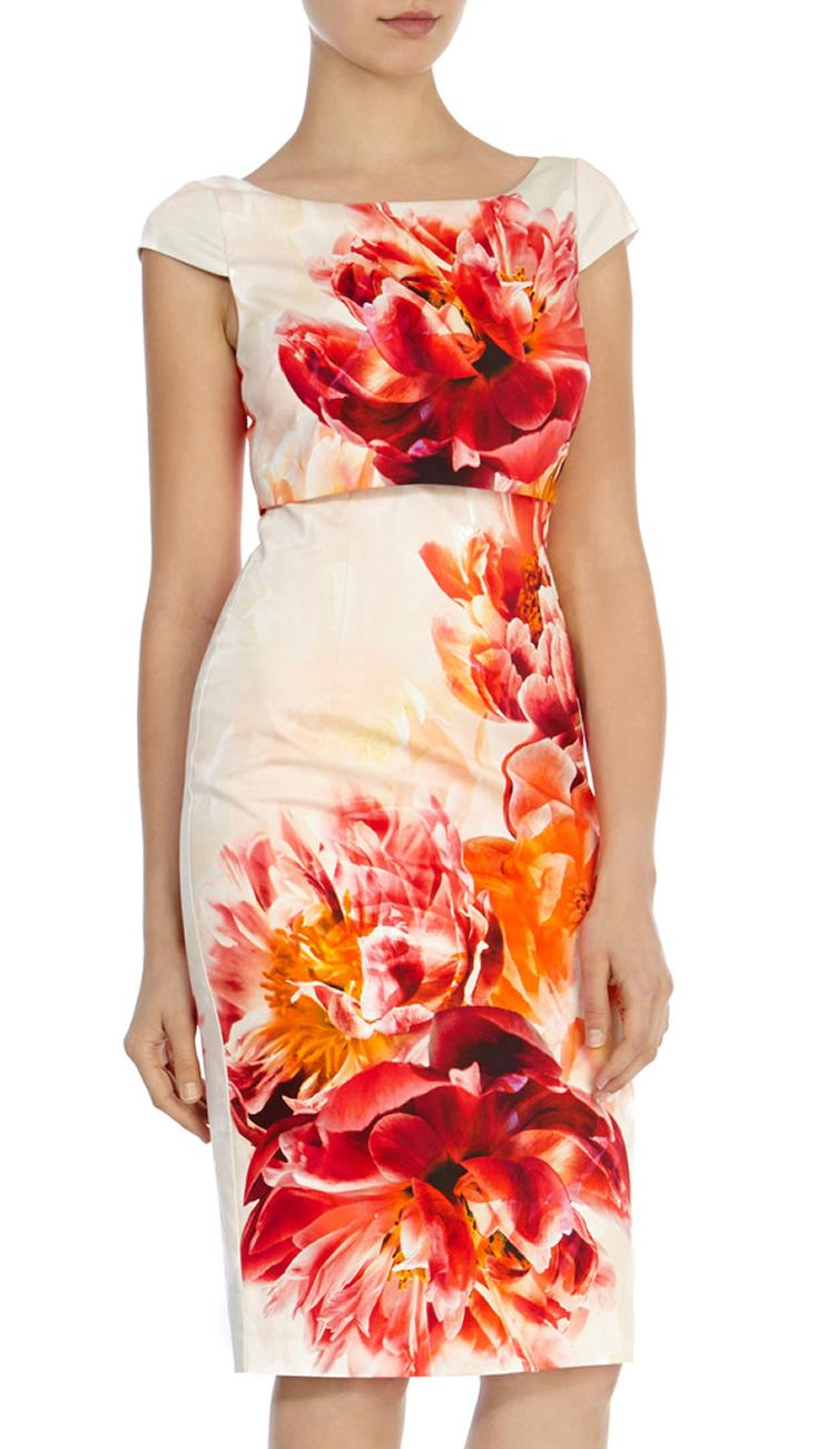 럭셔리 여성 꽃 인쇄 칼집 드레스 캡 슬리브 원피스 드레스 064A643