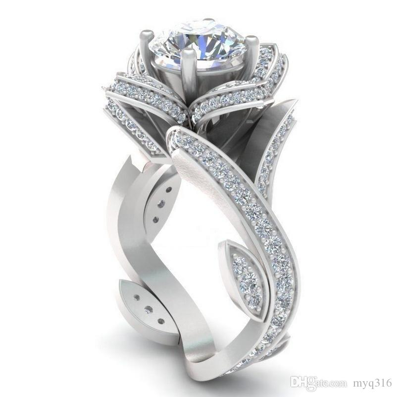 925 Sterling Silver Platinum Plated Diamond Engagement Ring Stones:AAA  Zircon Material:sterling Silver Surface: 18k Gold Plated S925 STAMP  Size(US): 6 7 8 9 ...