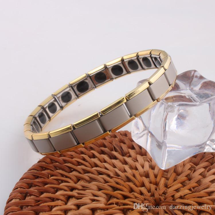 Fastion Lover Couple Uomo Donna Quantum Bio Energy Health acciaio inossidabile Bracciale elasticizzato con pietra magnetica al germanio