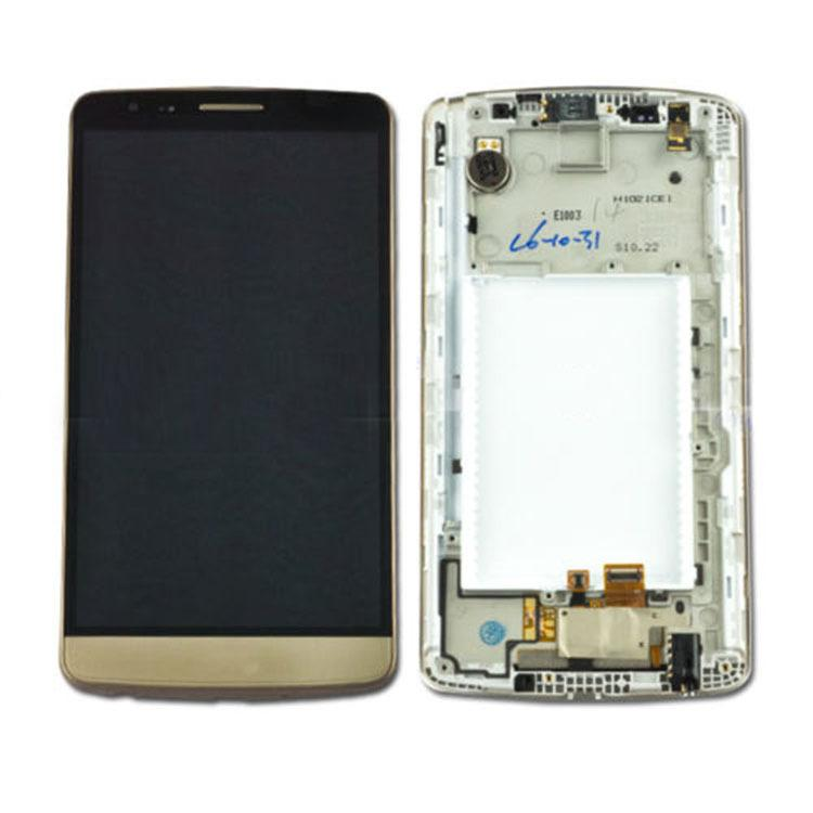 Original Black White Gold Replacement part for LG G3 Stylus D690 LCD Screen Display with Touch + Frame