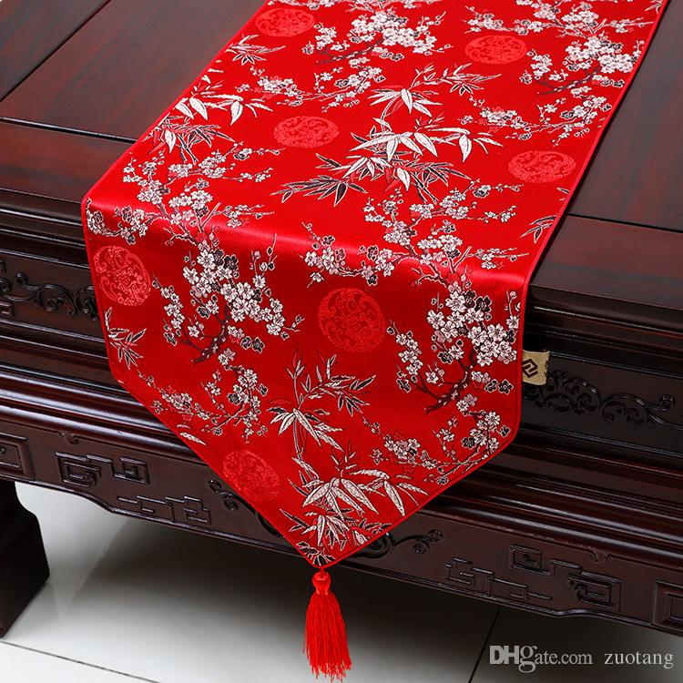 Extra Long 120inch Plum Bamboo Table Runner Fashion Luxury Decor Dining  Room Table Cloth High End Silk Brocade Protective Pads 300x33 Cm Beaded Table  Runner ...