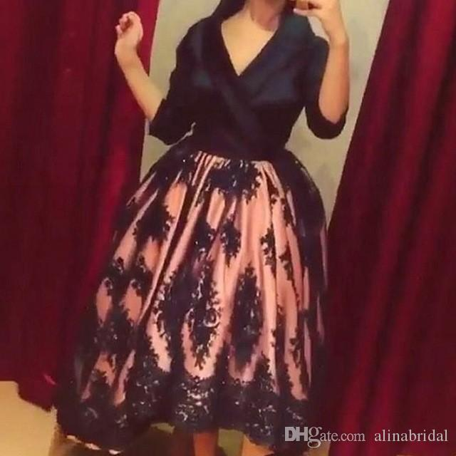Arabic Ball Gown Prom Dresses tea Length V Neck Dubai Long Sleeve Party Dress Empire Waist Tulles Black Applique Lace Evening Gowns