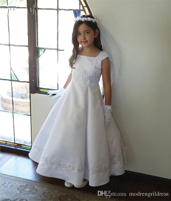 Portrait Neckline Pure White Communion Dress Applique Lace