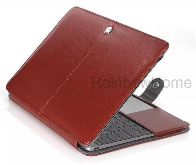 Funda de cuero de la PU de la moda cubierta protectora bolsa de ordenador portátil para Macbook Air Pro con Retina 11 12 13 15 pulgadas casos de plegado delgado muestra