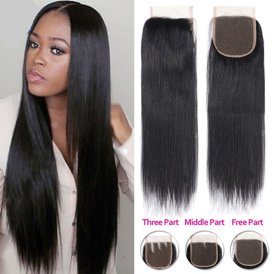 Brazilian Human Hair 4x4 Top Lace Closure Straight Hair Weave