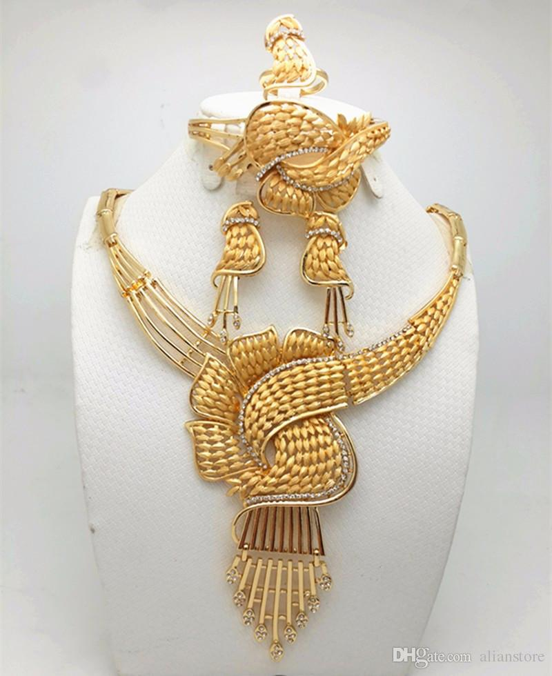 2018 Brand New Wholesale High Quality Indian Jewelry Sets Gold Plated Chunky Necklace Bracelet Earrings Wedding Jewelry Sets From Alianstore ... & 2018 Brand New Wholesale High Quality Indian Jewelry Sets Gold ...