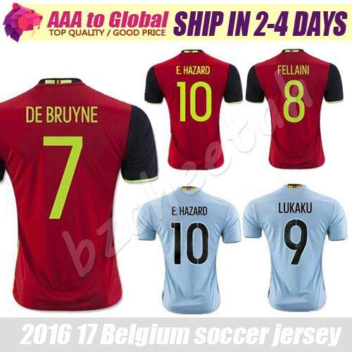 3a43cb1cd Belgium Jersey 2016 2017 Home Away Red LUKAKU HAZARD VERMAELEN Kompany DE  BRUYNE Fellaini National Team ...