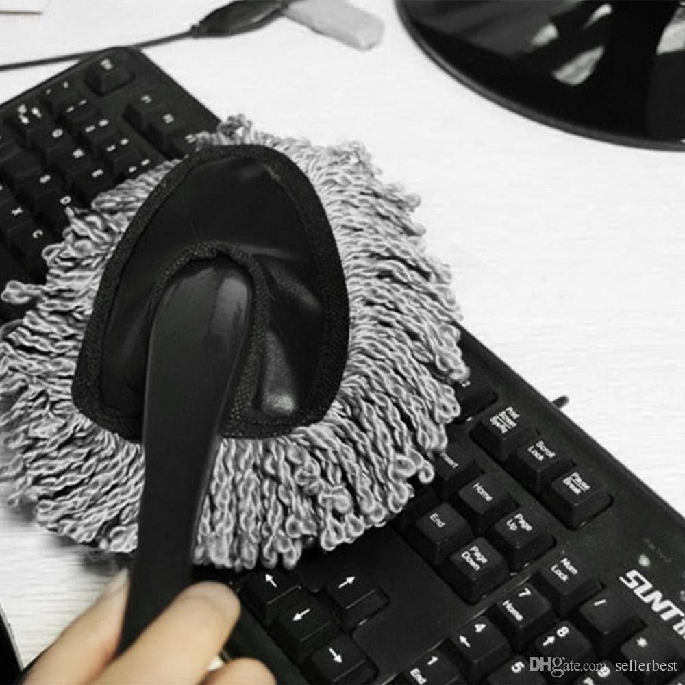 Мини-воск щетка симпатичные многофункциональный автомобиль тряпкой очистки грязи пыли чистые уход кисти пыли инструмент швабра серый для воска клавиатура