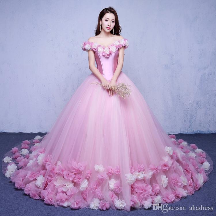 Compre Fuera Del Hombro Rosa Vestidos De Novia 2017 Flores Vestido ...