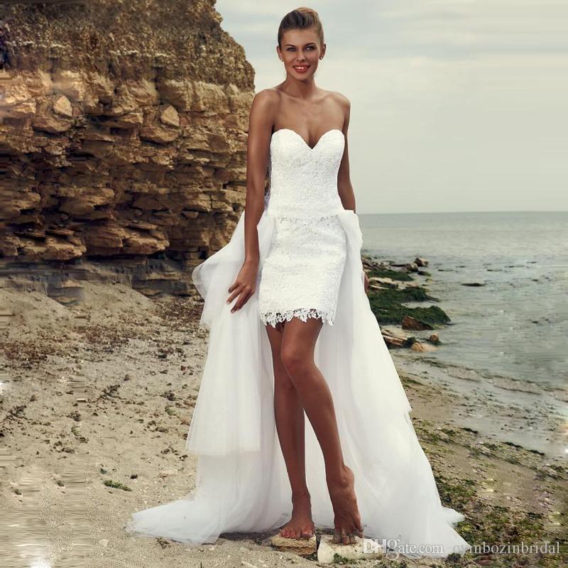 Großhandel Spitze Strand Böhmischen Hochzeitskleid Kurze Abnehmbare ...