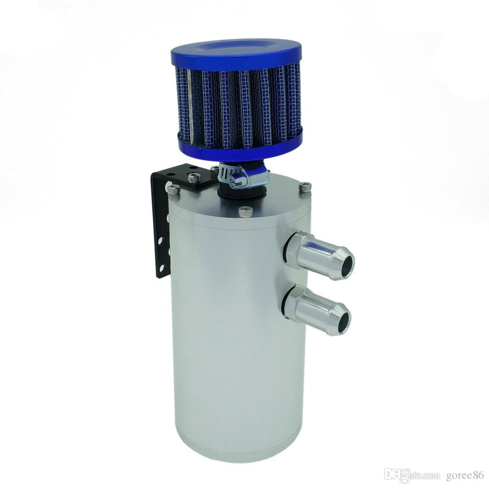 Round Aluminum Car Engine Oil Catch Can Turbo Reservoir Tank With Blue Breather Filter Baffled Black Silver Color