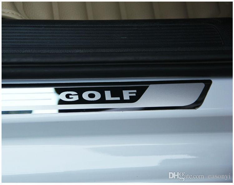 Ultra-dünner Edelstahl-Verschleiss-Platten-Tür-Schwellen für VW Golf 7 MK7 Golf 6 MK6 Willkommen Pedal Schwelle Autozubehör 2011-2015