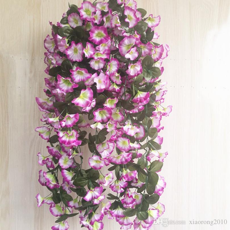 One Morning Glory Vine Vinhas Penduradas Flor para o Casamento Decorativo Artificial Pendurado Na Parede Da Flor 5 Cores