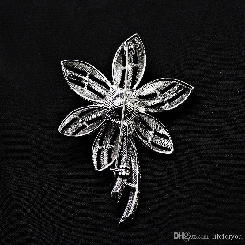 Vintage Flower Pearl Rhinestone Brooch Pin Silver Gold-plate Alloy Faux Diament Broach for bridal wedding costume party dress Pin gift 2016