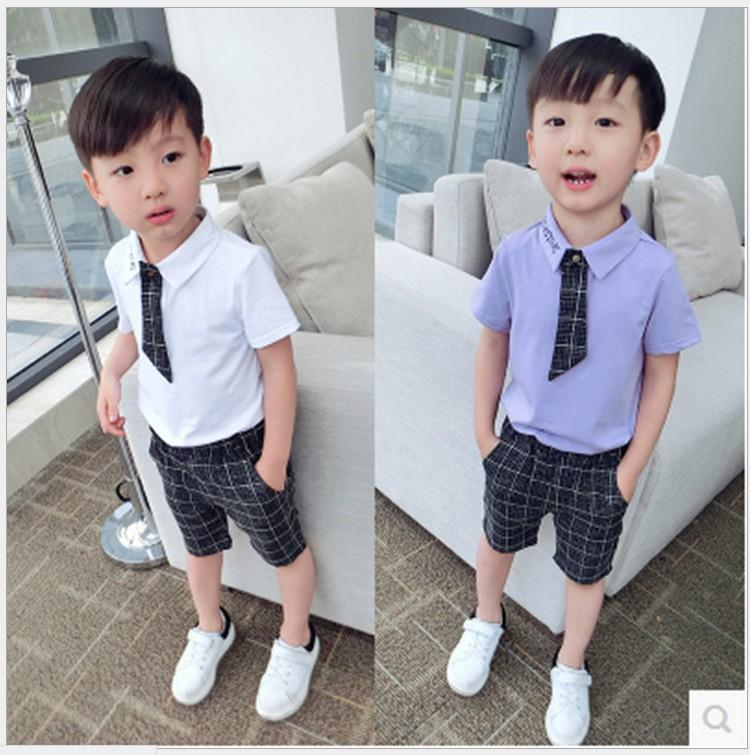 2016 Summer Boys Gentleman Style Clothing Set Handsome Boy Short Sleeve Shirt With Tie+Plaid Shorts 2pcs Sets Kids Suit Children Outfits