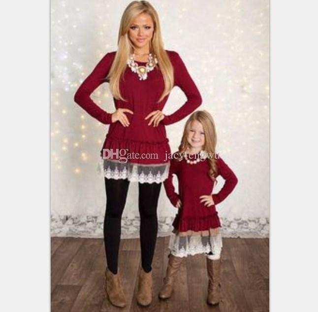 mother and daughter clothes family matching Christmas dresses for girl lace skirt baby clothing girls fall clothes children fashion QZZW021
