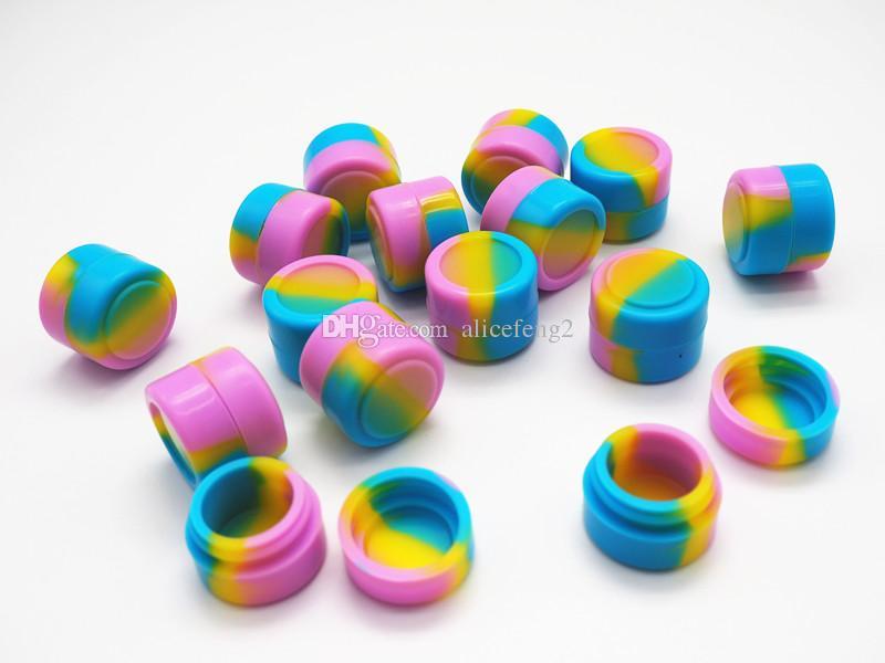 Pors de silicone antiadhésifs Forme ronde 2ml DAB Cire Vaporisateur Huile Silicone Conteneur de conteneur de stockage Conteneur Assortiment Outil de couleur