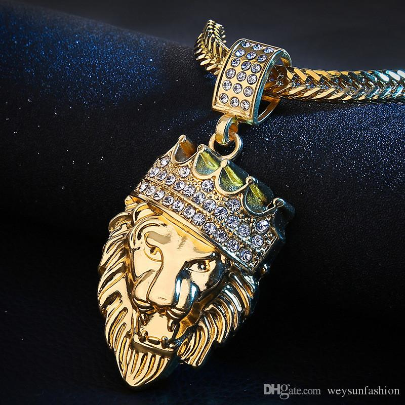 New Color Gold color Alloy 78cm Chain Men Lion Head Pendant Inlay Rhinestone Necklace HipHop Lion King Crown Franco Chain